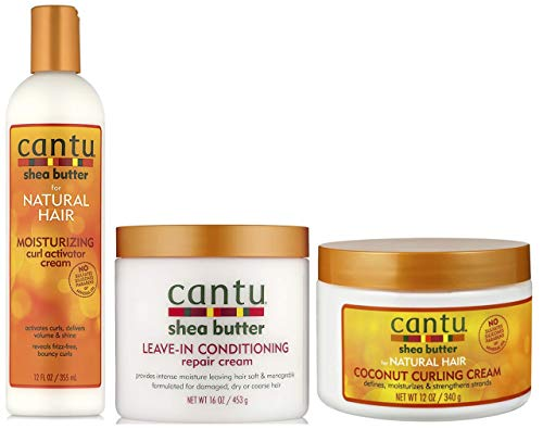 Cantu Moisturizing Curl Activator Cream 355 ml, Coconut Curling Cream 340 g mit Leave in Conditioning Repair Cream 453 g