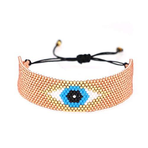 THj Bracelet Lucky Bracelets Turkish Evil Eye Women Beads Loom Jewelry Handmade Armband Bracelet Length 17 Cm