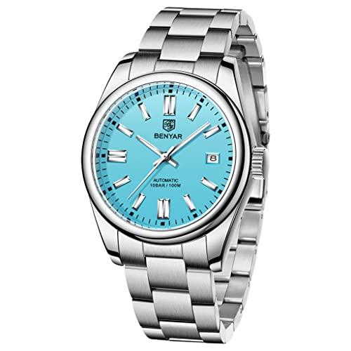 BENYAR Casual Minimalista Hombres Relojes Automáticos Stianless Acero Impermeable Luminoso Moda Vestido Mecánico Reloj, 5185-azul,
