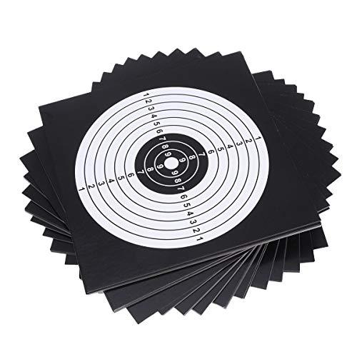 LIOOBO 100PCS Tiro de Papel Objetivo Arco Flecha Contacto Objetivo Papel de Entrenamiento Papel Blanco Tiro de práctica de tirachinas 14x14cm (Negro)