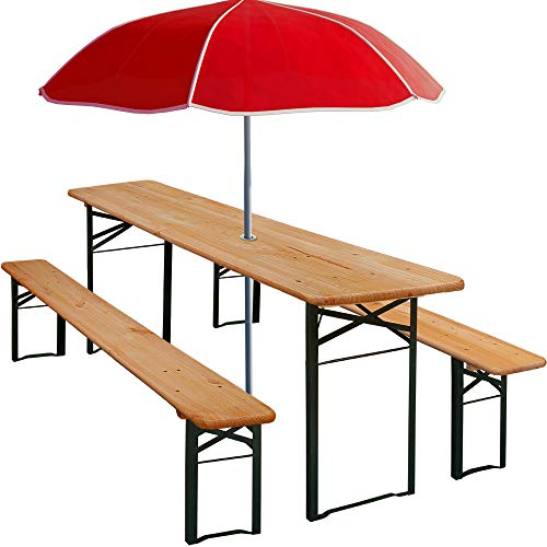 Deuba set de 1 mesa y 2 bancos de madera pino picea plegables mesa ...