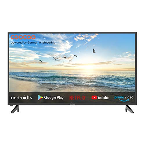 coocaa 42S3M 42 Zoll Smart Full HD LED Fernseher (106 cm) mit Android TV (schmaler Rahmen, Triple Tuner, Android 9.0, Netflix, YouTube, Prime Video, HDMI, CI-Slot, USB, Digital Audio), schwarz