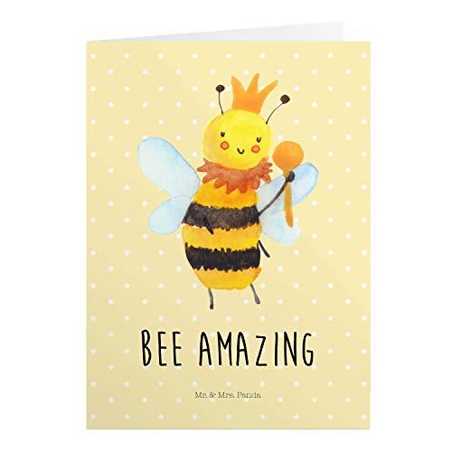 Mr. & Mrs. Panda Einladungskarte, Geburtstagskarte, Grußkarte Biene König mit Spruch - Farbe Gelb Pastell
