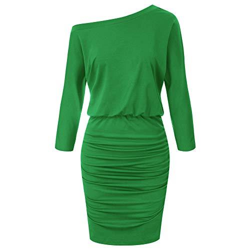 GRACE KARIN Vestito Donna Cerimonia Abito Verde Girocollo Sexy Bodycon Tubino Midi Vestito Cocktail Primaverile L CLS02462-4