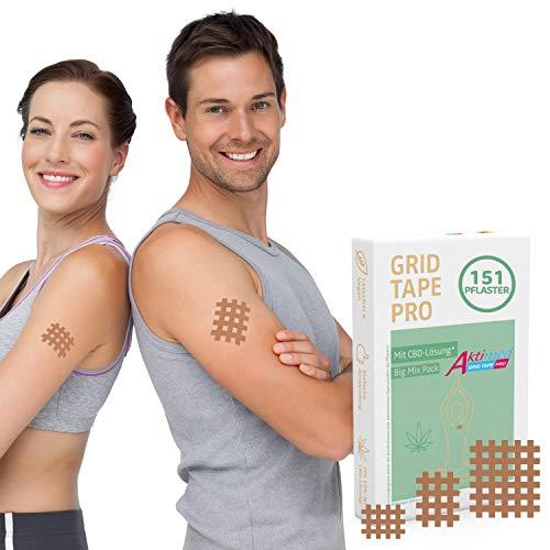 AKTIMED Grid Tape CannaPro - Premium Gittertape mit pflanzlichen Extrakten(10%)* Patentbasierte Akupunkturpflaster dermatologisch getestet - Crosstape Gitterpflaster Schmerz- & Entzündungspunkte*