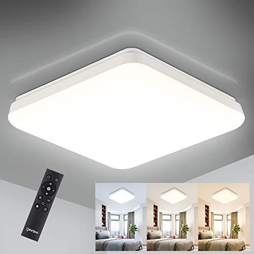 Oeegoo 24W Lámpara de Techo Regulable, 2400LM LED Plafón, IP54 Impermeable para Dormitorio Cocina Sala de Estar Comedor Balcón (Color de Luz Regulable 3000K a 6500K, Brillo Ajustable 10% a 100%)