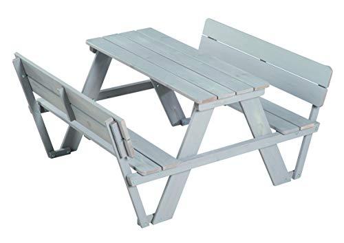 roba Kinder Outdoor Sitzgruppe 'Picknick for 4' Outdoor + mit Rückenlehnen, wetterfeste Sitzgarnitur aus Massivholz für drinnen und draußen, besonders langlebig, grau lasiert