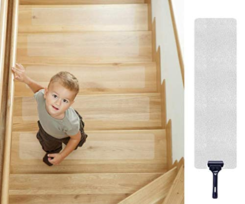 Antirutschstreifen Treppe, Queta Antirutschstreifen für Treppen Transparent Rutsch Streifen Rutschschutz Treppenstufen Matten, 15er Pack, 10cm x 60cm