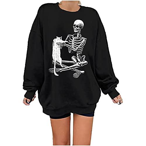 여성의 가을 패션 스웨터 꼭대기 스켈레톤 프린트 캐주얼 긴 소매 CREWNECK 특대 티셔츠 블라우스 여성용