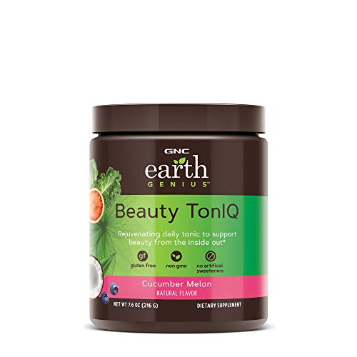 GNC Earth Genius Beauty TonIQ - Cucumber Melon, 20 Servings, Improves Skin Tone with 5 Grams of Marine Based Collagen