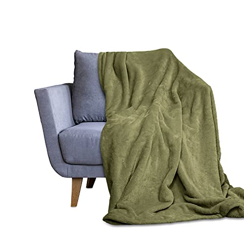 Throw Blanket for Couch & Bed - Decorative Size Fleece Blanket - Soft, Fuzzy, Cozy & Breathable - Plush Microfiber Home Decor (50x60,Green)