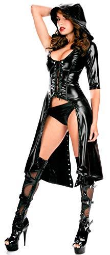 HAIYUANNAN Sexy Nachtclub BüHne Kleid Bar Lackleder Mantel Latex Show Overall Catsuit, XL