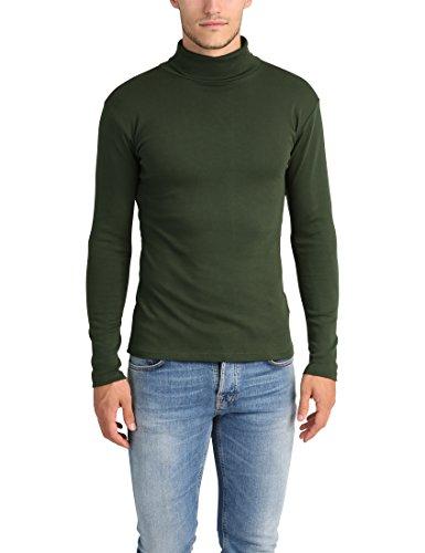 Lower East Camiseta con cuello alto Slim Fit para hombre, Verde Oscuro, XL