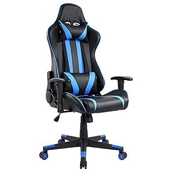 KKTONER Ergonomic Gaming Chair for E-Sport Racing Computer Swivel Height Adjustable Gamer Chair  Blue