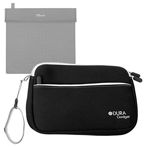 DURAGADGET Funda De Neopreno Negra para Tableta Gráfica Trust Flex Design Ultra Thin and Flexible Black - con Bolsillo Exterior