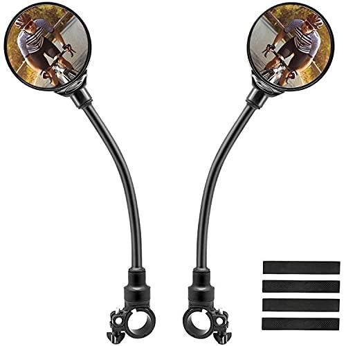 2 Pezzi Specchietto Bici, Girevole a 360° 22 – 32 mm Grandangolo Specchietto Retrovisore per Bici, Regolabili Specchietto per Monopattino Elettrico, Moto, Bicicletta Elettrica