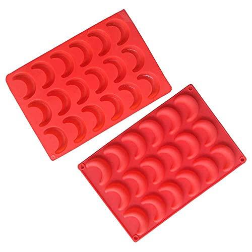 YuKeShop 2 paquetes de moldes de silicona para cubitos de hielo con luna creciente y luna colgante de resina con color rojo
