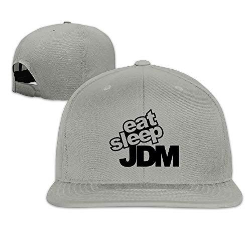 Kjfilo Hip-Hop Eat Sleep JDM Snapback Baseball Cap Hat Adjustable One Size Fits All for Male/Female White Ash