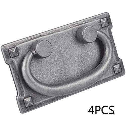 Pomo - Tiradores para cajón (4 unidades, bronce antiguo, diseño vintage, color plateado