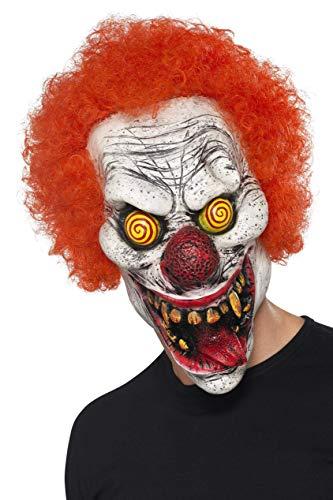 Smiffys Unisex Grusel Clown gezichtsmasker, hele hoofd, één maat, rood, 44745
