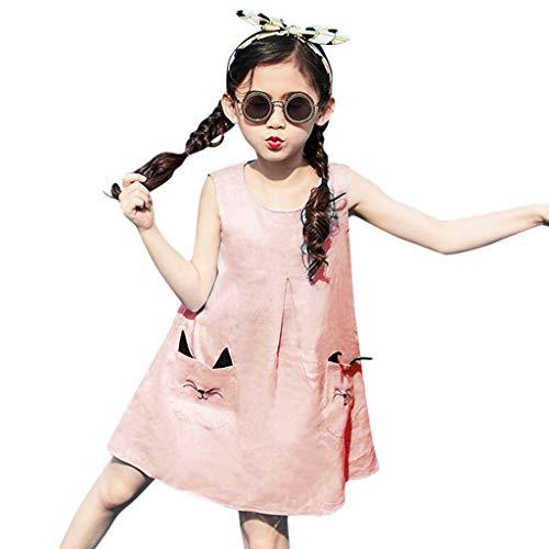 LUCOG Robe Fille, Robe pour 4-5 Ans Princesse, Adolescents Enfants bébé Filles sans Manches Dessin animé Kitty Poche Tenues Ensemble, Chic Ete Ceremonie Anniversaire Robe, Pas Cher Enfants Vêtements