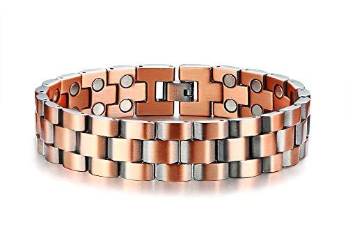 VNOX Magnetic Therapy Armreif 99,9% Reines Rot Kupfer Armbänder für Arthritis Schmerzlinderung Armband Für Männer, Einstellbares Werkzeug