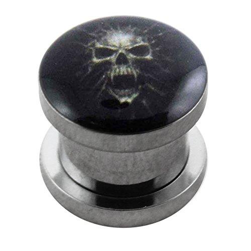 AZARIO LONDON Mummia Skull Logo 316L acciaio chirurgico vite Fit Gauge Flesh Tunnel Piercing orecchio e Acciaio inossidabile, colore: Oro, cod. MES-MP-S-18MM