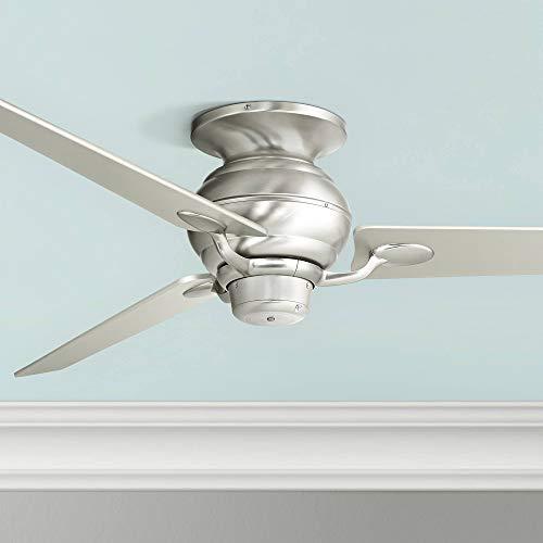 60' Spyder Modern Hugger Low Profile Indoor Ceiling Fan Brushed Nickel Tapered Silver Blades for Living Room Kitchen Bedroom Dining - Casa Vieja