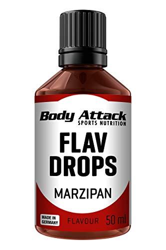 Body Attack Flav Drops®, 50 ml, Marzipan, Aromatropfen für Lebensmittel, zuckerfreie Flavour Drops ohne Kalorien, vegan & Qualität Made in Germany