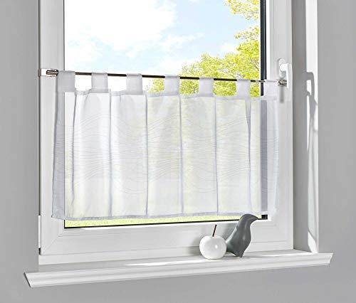 Gardinenbox Scheibengardine Voile »ULM« HxB 43x100 cm Linie Bedruckt Sichtschutz Transparent Küchenfenster