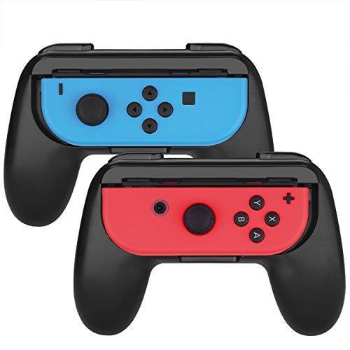 Nintendo Empuñadura, Myriann (2 piezas) Comfort Ergonomic Pads Controles para Joy Con (Negro)