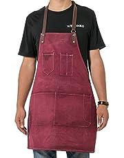 QCWN Canvas keuken chef-schort, verstelbare slabbetschort met zakken, mannen & vrouwen keukenschort, bakschort, knutselschort, werkwinkel schort WQ37