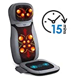 INTEY Shiastu Massage Chair Pad Acupressure Therapy Back Massager Cushion with Heat and Hip Vibration for...