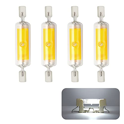 Yafido 4 piezas Bombilla R7S LED dimmable light 78mm 10W 230V, R7S LED Lámpara Blanco Frío 6000K, 800LM COB LED Lámpara, 360° ángulo de haz de 360 °, Equivalent to 80W halogen lámpara