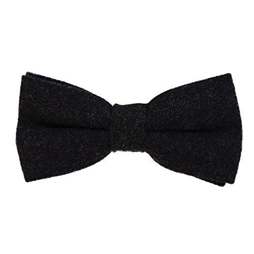 DonDon Herren Fliege 12 x 6 cm Baumwolle gebunden und längenverstellbar schwarz 2