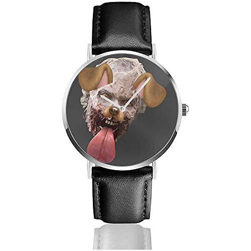 Walking Death Walker Hund Snapchat Filter Uhren Quarz Lederuhr mit schwarzem Lederband für Sammlung Geschenk
