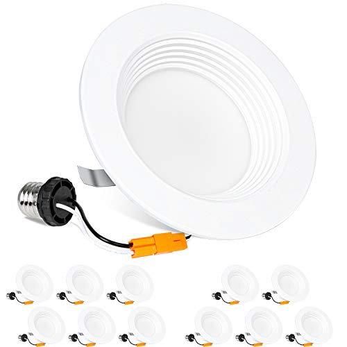 Hykolity 12 Pack 4 Inch LED Recessed Downlight Dimmable, Baffle Trim, CRI90, 9W=65W, 600lm, 5000K Daylight LED Recessed Retrofit Can Light, Damp Rated, ETL Listed