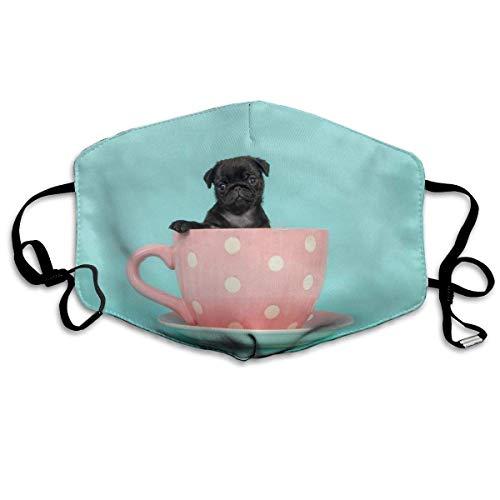 mundschutz Black Pug Puppy In Cup, staubdichter Mundschutz, Verstellbarer Ohrbügel, Mundschutz, halbe Gesichtsabdeckung, Winddichte Gesichtsdekorationen