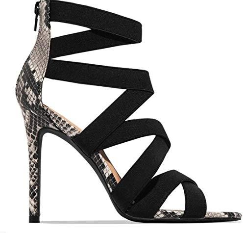 Sommer-Schuhe mit hohen Absätzen Fischmund europäischen und amerikanischen Stil Schlange Muster feinen Ferse sexy Art und Weise Frauen Sandalen,Schwarz,39