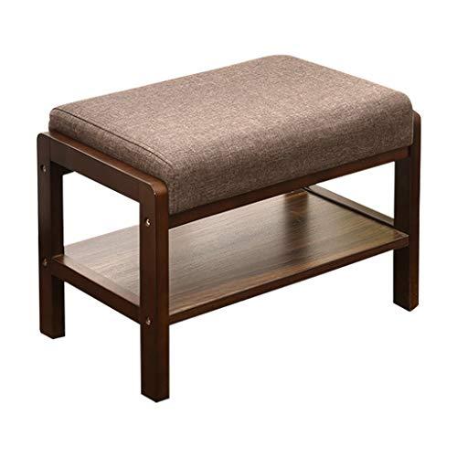 Zapatero de madera maciza para zapatos, banco de madera maciza, taburete de sofá, taburete de lujo, retro, para zapatos, color marrón, tamaño: S)