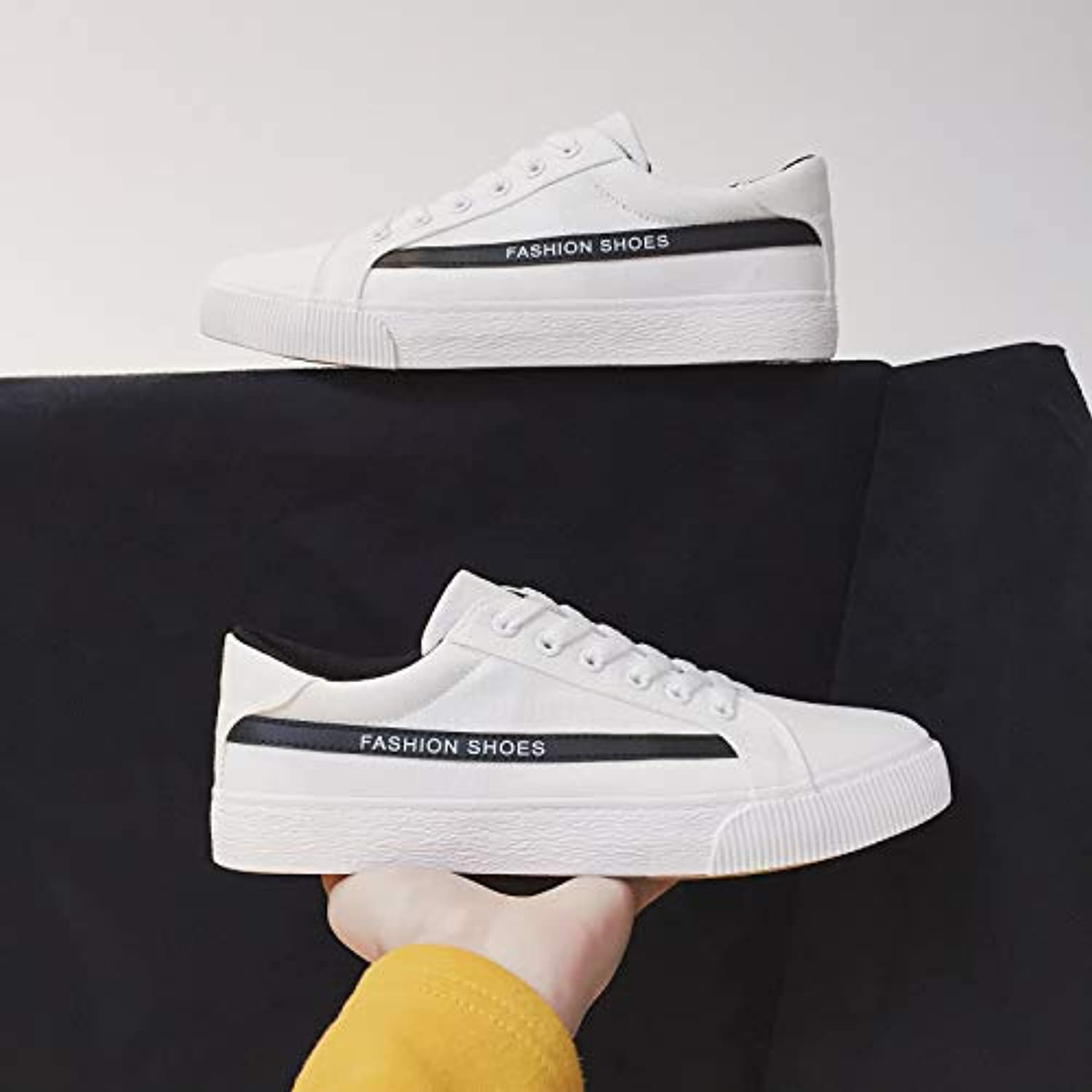 LOVDRAM Men's shoes Spring Men'S shoes Korean Canvas shoes With Casual Sports shoes Fashion Students White shoes