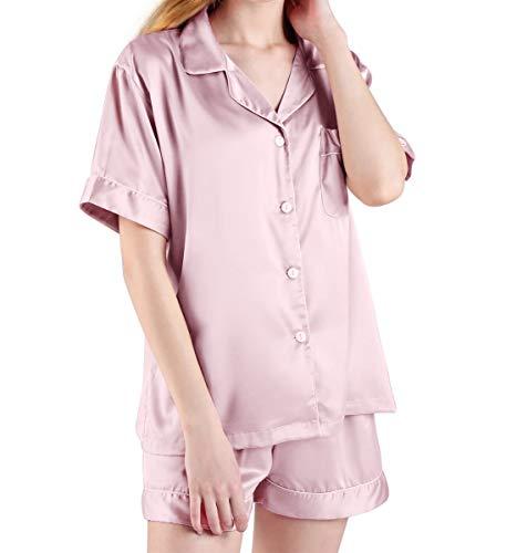 wenseny Pyjama-Sets Kurzarm Damen-Nachtwäsche Seidig-Nachthemd Button-Down Casual-Loungewear Rosa S