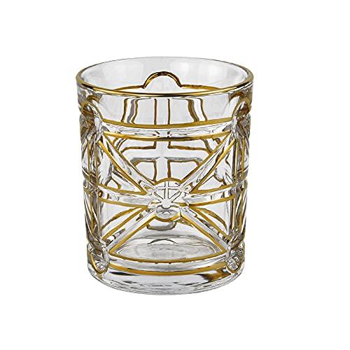 ZNLHJ Moderno clásico cilíndrico ligero extravagante dorado línea clásica copa de cristal, exquisito jugo de frutas para el hogar, bebida, café, leche, vino, 13,1 oz (373 g), adecuado para hoteles, ba