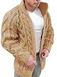 OADOBKICE Cardigan Hombre Sueter Hombre Suéter Punto Cuello Redondo Hombre Suéter Punto Gran Tamaño Hombre Suéter Holgado Informal Hombre Suéter Punto Invierno Sudadera Talla Grande Albaricoque 5XL