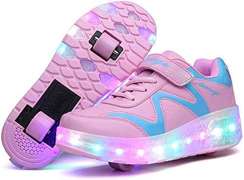 Unisex Kids LED Rollschuhe Schuhe Mit Rädern Jungen Mädchen LED Lichter Leuchtende Turnschuhe Doppelrad Technische Skateboardschuhe Outdoor Gymnastik Turnschuhe Mit USB-Aufladung,Pink 686-3 UK