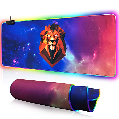 Large RGB Gaming Mouse Pad - Big Gaming Led Mouse Pad Smoothly Waterproof Surface XXL Mouse Pad with Anti-Slip Rubber Base Stitched Edge Mouse Pad for Keyboard(31.5'x12'x0.15') (Starry Lion)
