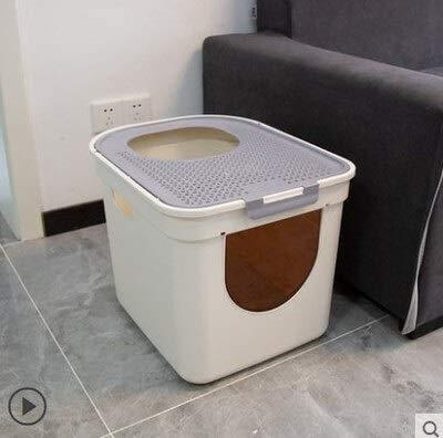 Caja de arena para gatos con doble puerta, entrada frontal, extra grande, a prueba de salpicaduras, gran cobertura, bandeja de arena para gatos (color: gris, tamaño: 41 x 52 x 39 cm) JoinBuy.R
