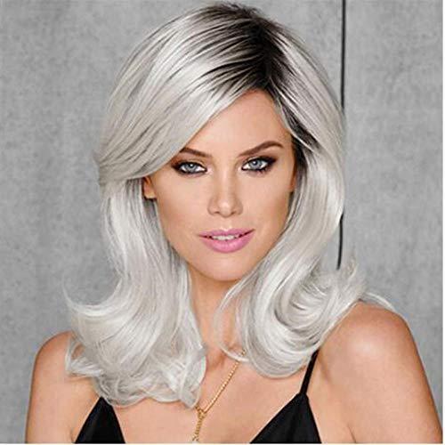 Gros cheveux longs ondulés gris, racine de cheveux foncés, 45cm, cheveux artificiels, soie haute température, perruque synthétique pour la robe quotidienne des femmes
