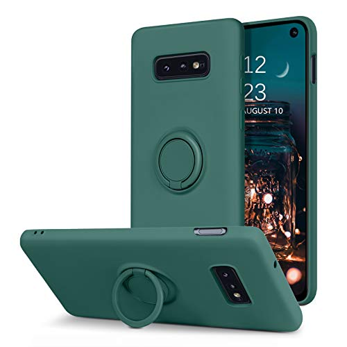 BENTOBEN Samsung Galaxy S10e Case, Slim Silicone Soft Rubber with 360° Ring Holder Kickstand Car Mount Supported Shockproof Bumper Protective Cases for Samsung Galaxy S10e 5.8' (2019), Midnight Green