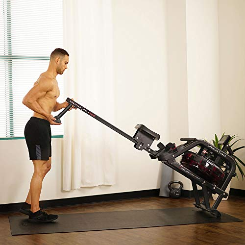 man moving sunny health fitness water rowing machine
